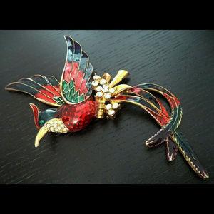 massive vintage rhinestone enamel bird brooch pin